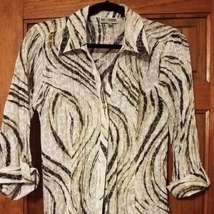 JM Collection Zebra Ruched Button-Up Shirt